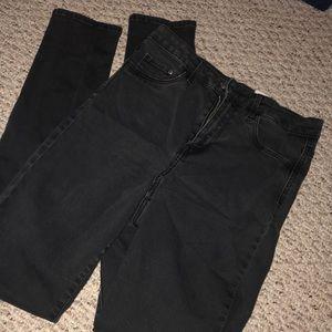 Denim - High-Waisted Faded Black Skinny Jeans